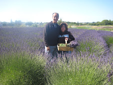Campbell and I  picking lavender