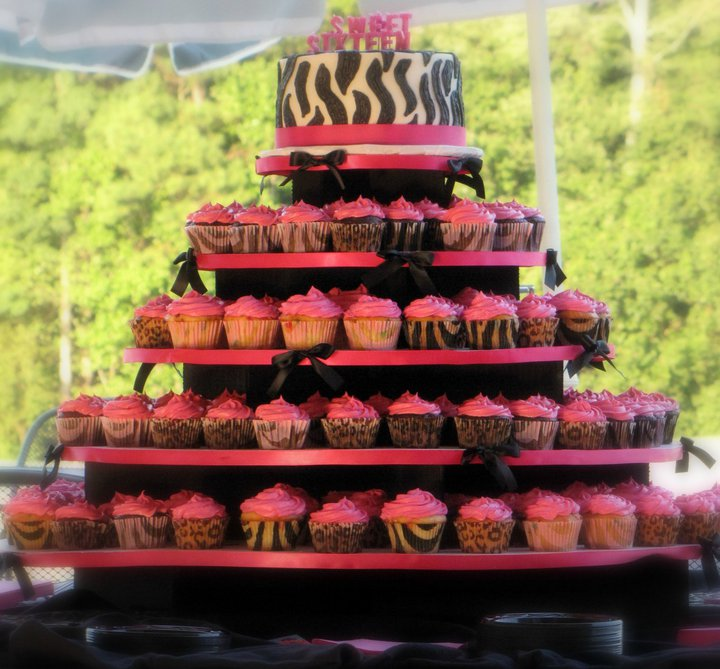 Birthday Party Blog: Sweet 16 Zebra Print Cake and Cupcakes