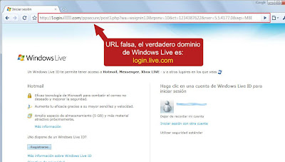 Sitio falso Hotmail