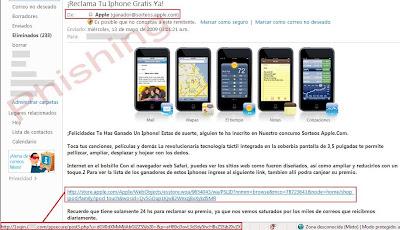Correo falso iPhone