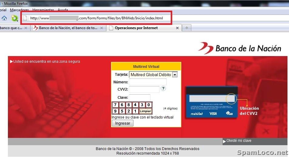 Phishing del banco de la naci n de per for Pagina del banco exterior