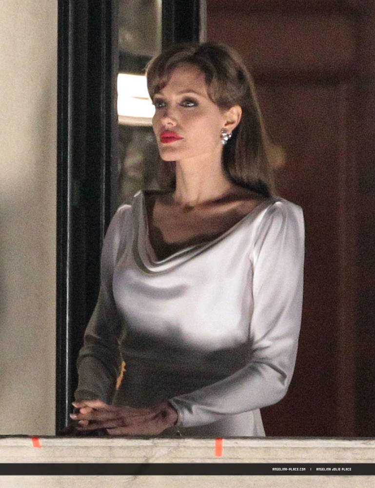 Angelina Jolie White Satin Dress