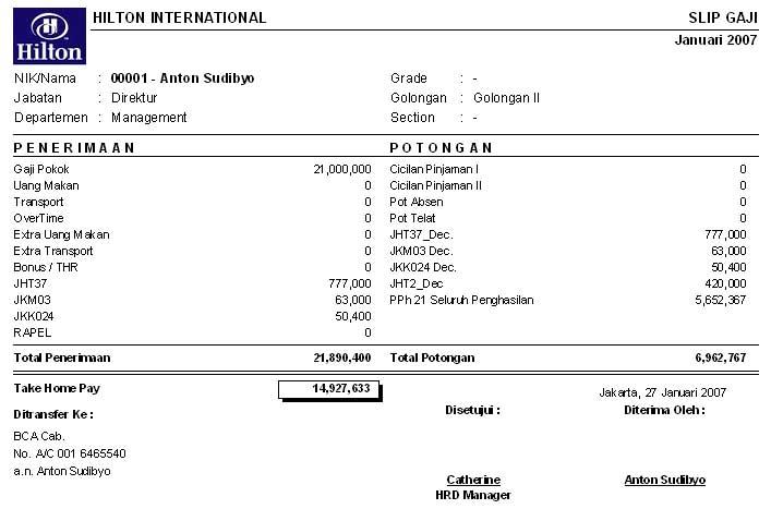 akuntansi: bentuk surat pemberitahuan gaji dan upah (slip