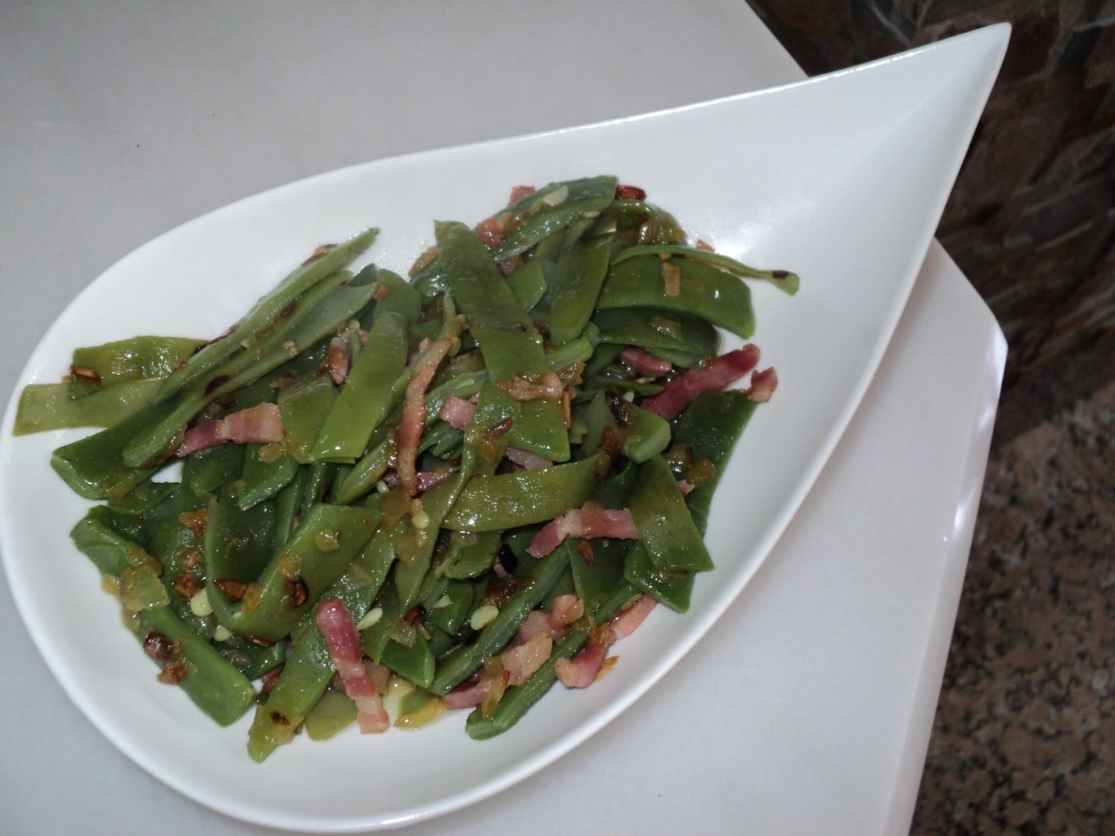 Cocinar para los mios jud as verdes con cebolla y bacon for Cocinar judias verdes de bote