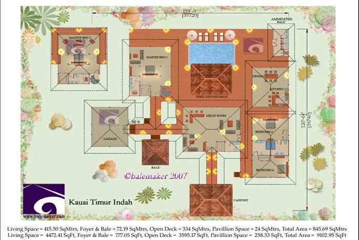 Kauai Timur Indah House Plan. Images from Balemaker .