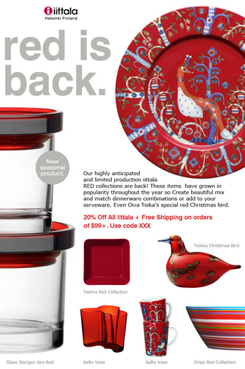 Iittala and Oiva Toikka red items