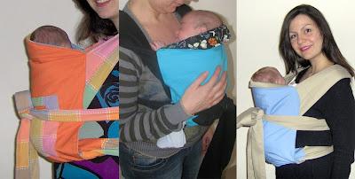 Νεογέννητα μωρά σε όρθια στάση σε μάρσιπο mei tai με τα πόδια μέσα ή έξω