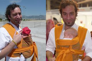 Ο μπαμπάς φοράει το γιο του με mei tai και κάνουν μαζί πολύ μεγάλες βόλτες!