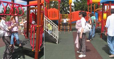Στην παιδική χαρά με τα παιδιά και το μωρό