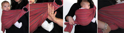 Η ουρά του sling τοποθετείται τεντωμένη κάτω απ' τα γόνατα του μωρού
