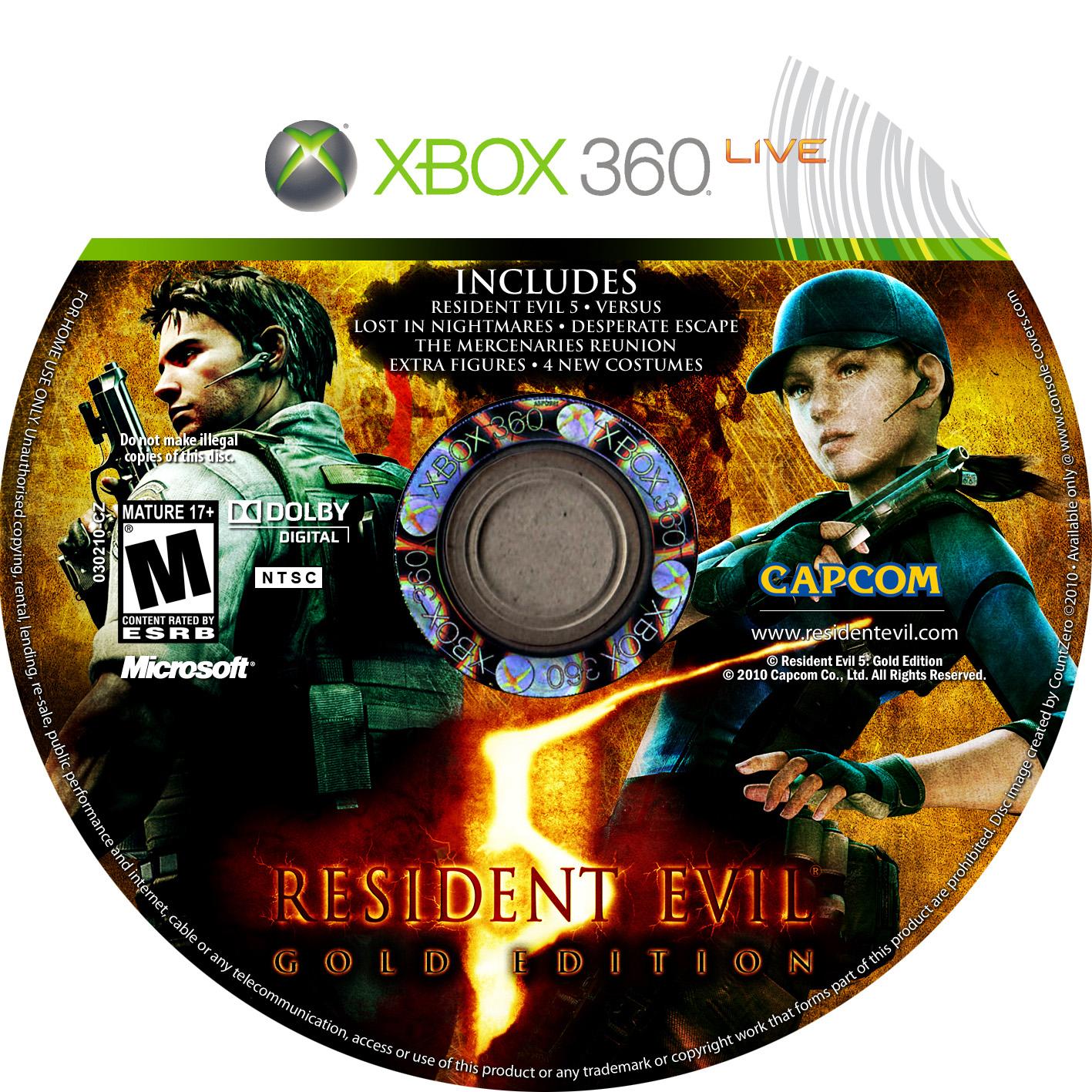 Capa Label Jogo XBOX 360 - Resident Evil 5 - Gold Edition