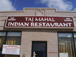 outside of Taj Mahal Indian restaurant in Suitland Maryland