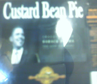 Obamas image on a custard bean pie label