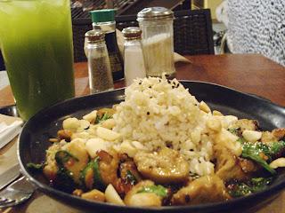 seitan stir fry and iced green tea