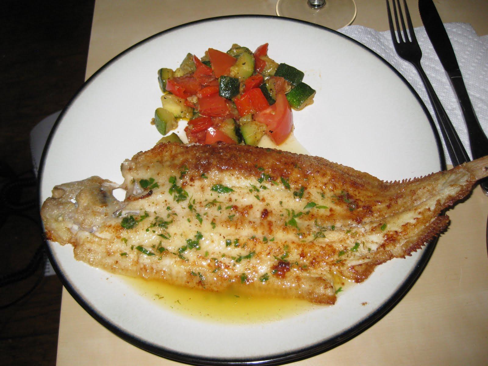 Dover Sole a la Meuniere with a quick style Ratatouille