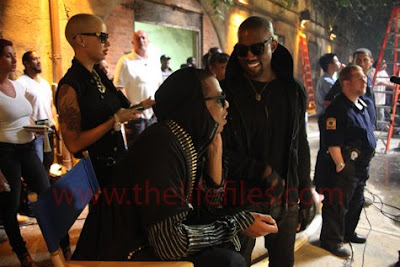 ri5 Jay Z, Rihanna & Kanye West On The Set Of Run This Town Video