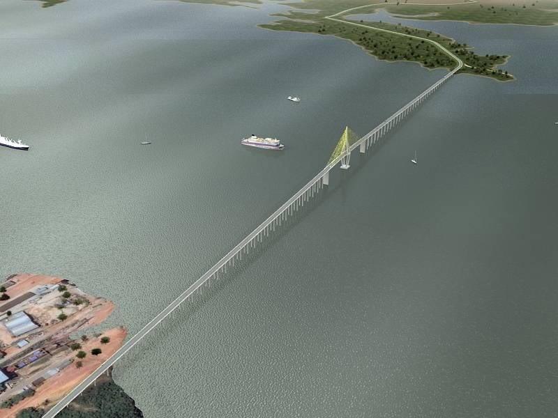 Bridge over the Rio Negro (Black River) Manaus, Amazonas, Brazil