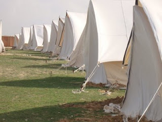 Egyptian tents being set up in the Sinai to serve as possible field hospital for Gaza