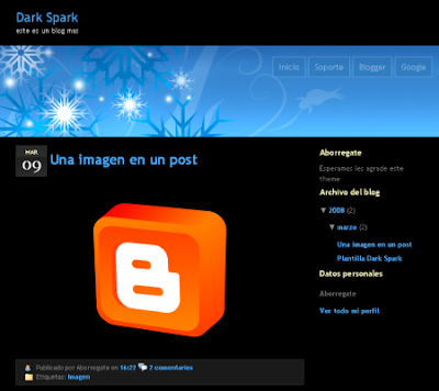 dark spark blogger template