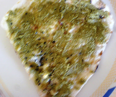 Indian Vegetable Pizza - On Naan Bread with Green Chutney