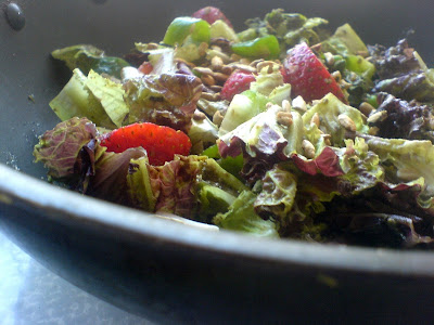 Strawberry, Pea, Pepper, and Lettuce Salad with a Pesto Dressing