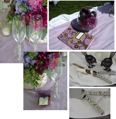 The customized serving set and champagne flutes were designed by a local