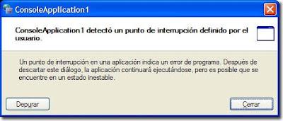 Ventana que posibilita la depuración de una aplicación .NET
