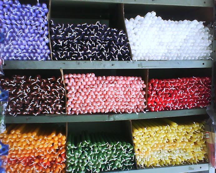 Velas de várias cores
