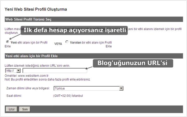 Web Sitesi Profili Ekle