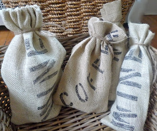 Burlap Wine and Coffee Gift Bags