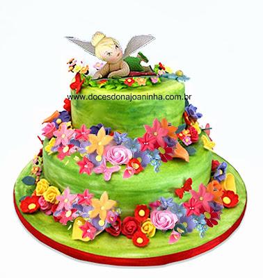 bolo decorado sininho tinkerbell jardim encantado