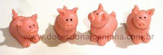 doces modelados porquinho fazendinha