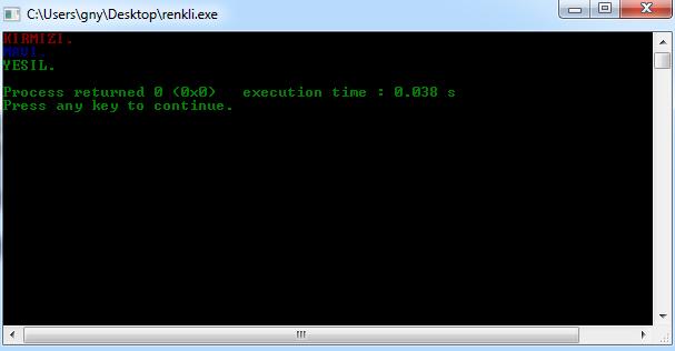 Programlama dilinde çıktı ekranının renklendirilmesi