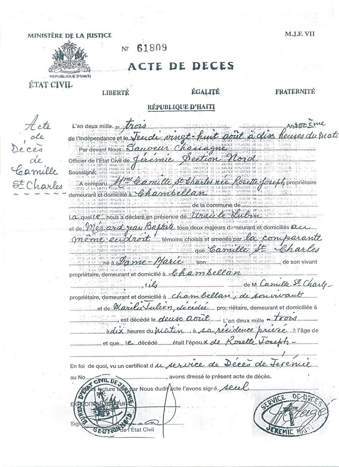 haitian birth certificate template caribbean living act de deces or death certificate