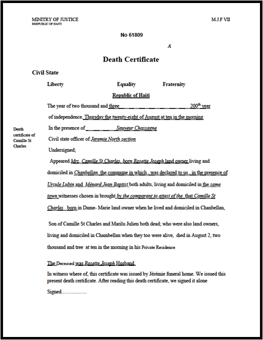 Caribbean living jul 25 2010 for Haitian birth certificate template