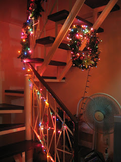 Christmas Wreath under the staircase