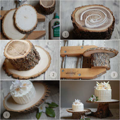 Once Wed as created a simple way to make rustic cake stands or centerpieces