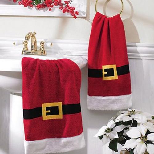 Juegos De Baño En Toalla:adornos-para-decorar-el-cuarto-de-bano-en-navidad-toalla-papa-noeljpg
