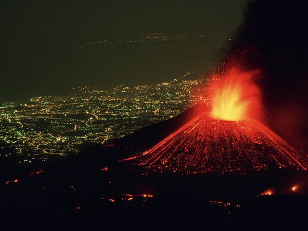 Volcanic lightning occurs when