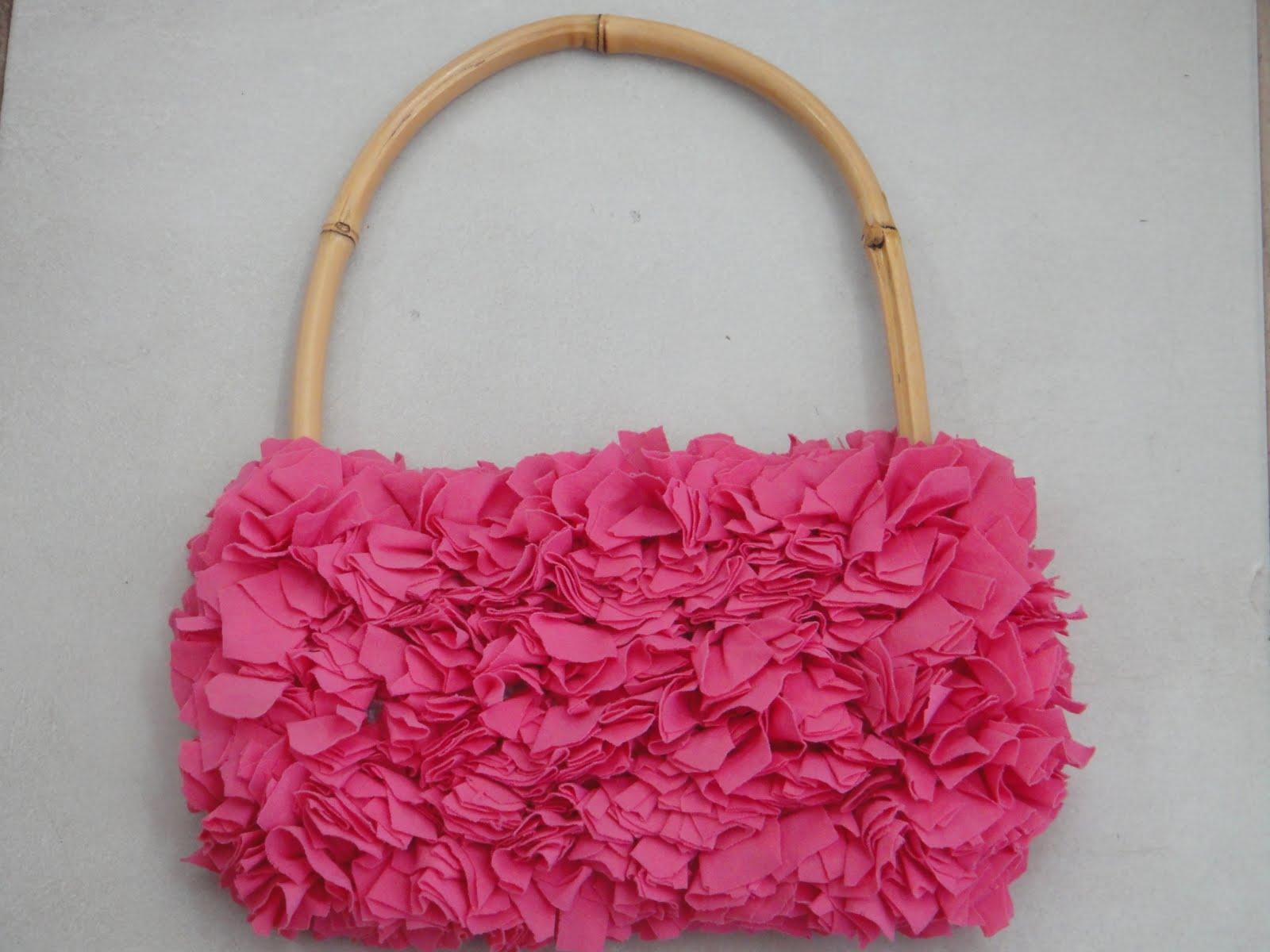 Bolsa De Tecido Com Alça De Bambu : Brech? da xuxa bolsa artesanal pink feita de tecido e