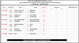 PCNC Grand Final Draws for Saturday 29th May 2010