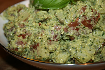 Potato salad made from small red potatoes, and a basil pesto with ...