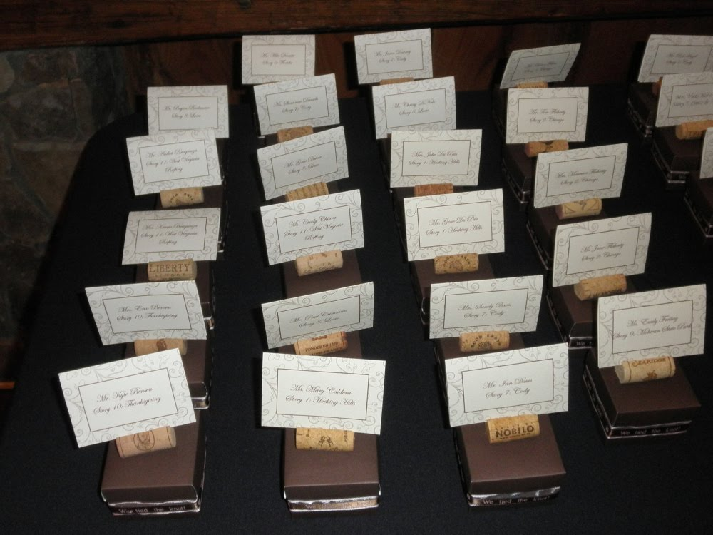 The cute little place cards were held by corks