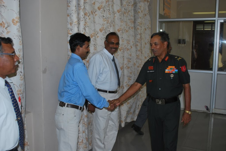 Staff Members Greeting the General Officer