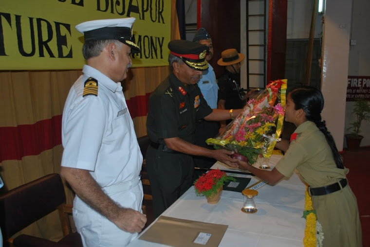 Major General VSS Goudar welcomed with bouquet of flowers