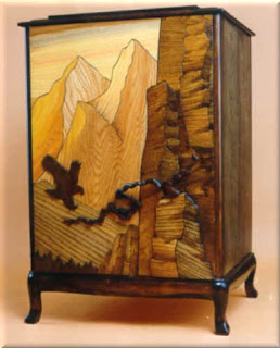 Intarsia woodworking Style Liquor Cabinet by J. Mifflin