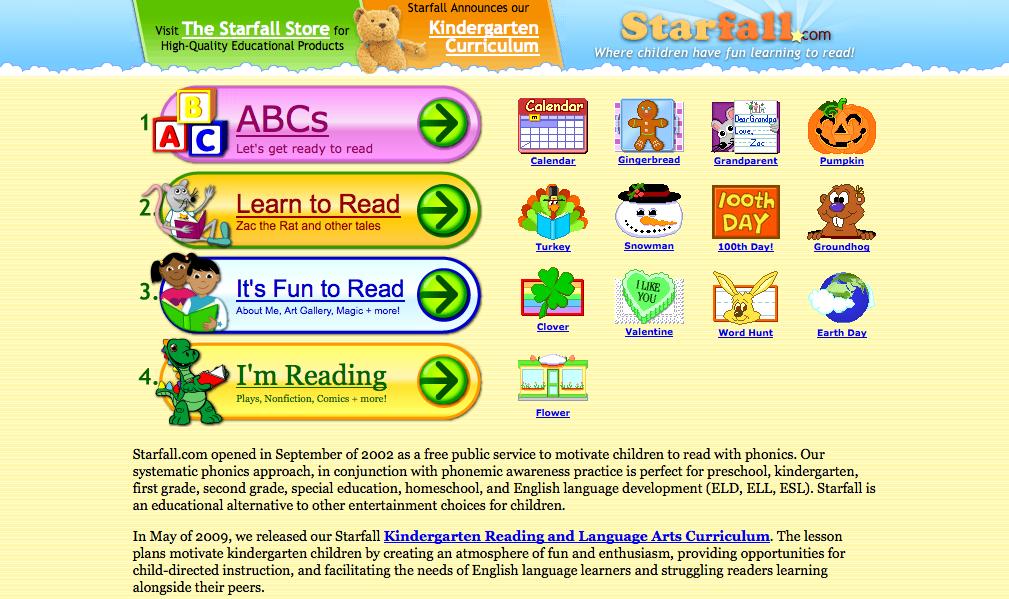 Starfall learn read phonics