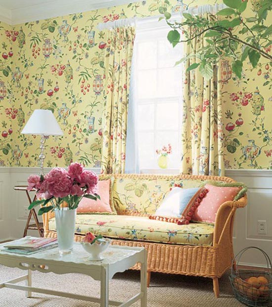 Interiors classic room wallpapers design for Yellow living room wallpaper