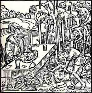 Kazıklı  voyvodanın yaptığı işlenceleri gösterir temsili bir resim
