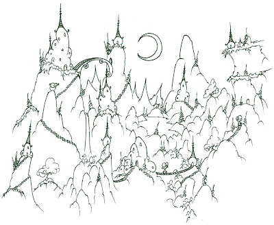 Mountain Village Coloring Pages